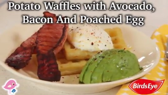 Potato Waffles with Avocado, Bacon and Poached Egg