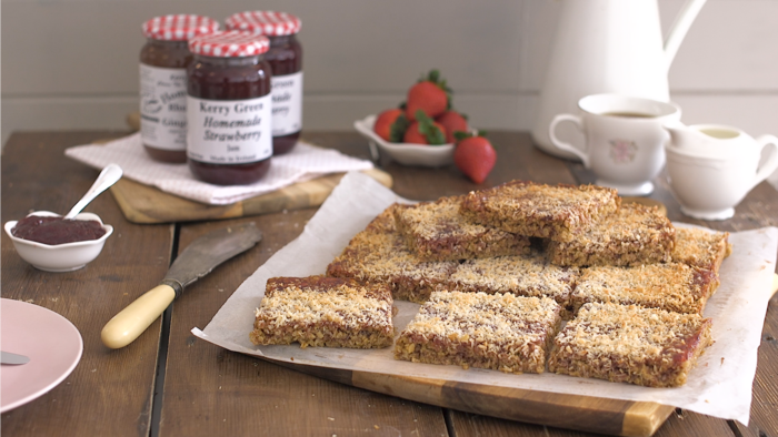 Strawberry and coconut flapjacks