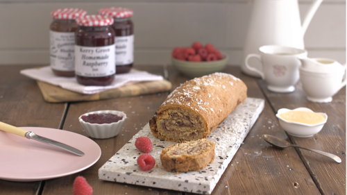 Coconut and raspberry jam roulade