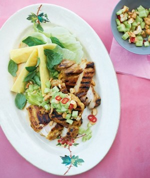 Char-grilled chicken salad with pineapple & basil
