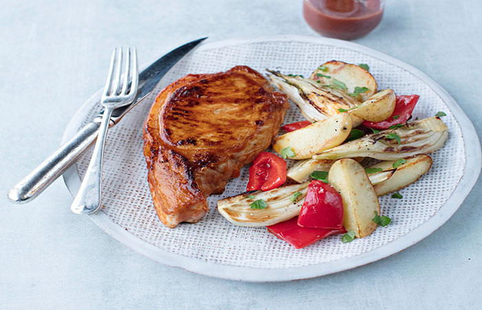 Oven Baked Pork Chops with Potatoes, Fennel and Red Peppers