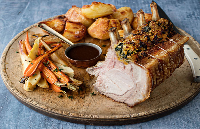 Rack of Pork with Spinach and Apricot Stuffing