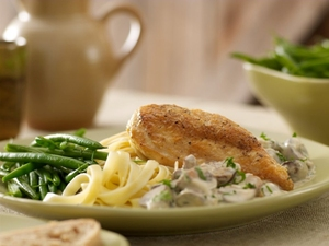 Chicken tagliatelle with a creamy Irish whiskey and mushroom sauce