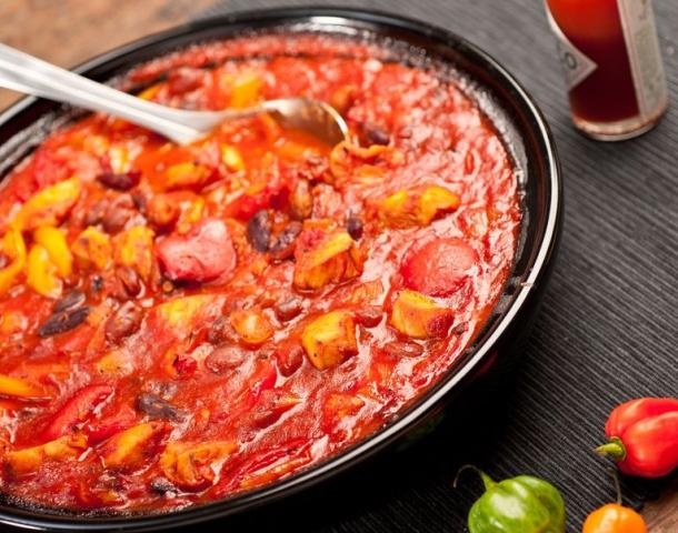 Mexican chicken three bean stew