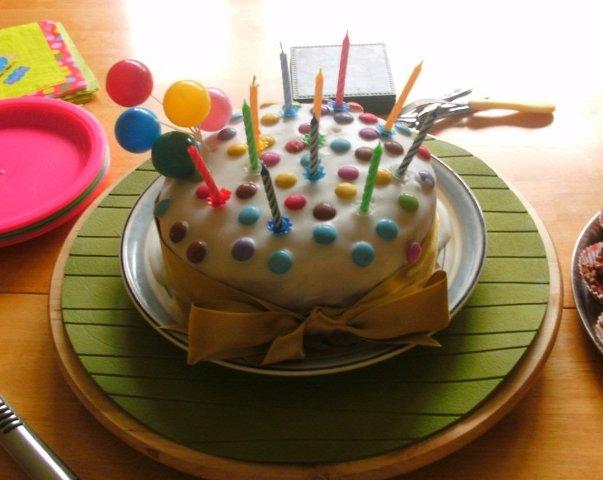 Smarties birthday cake