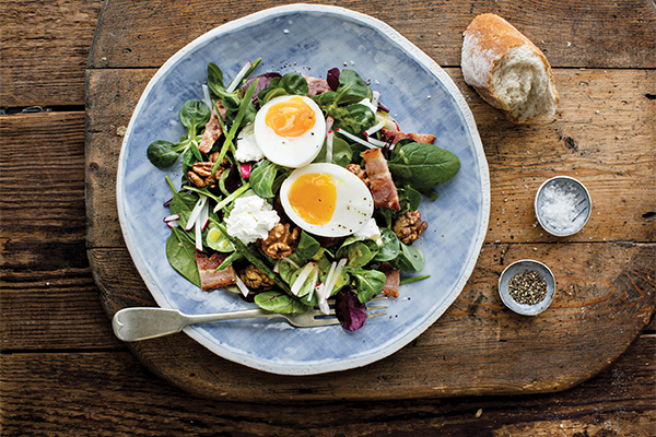 Goats' Cheese, Bacon and Egg Salad with Walnuts