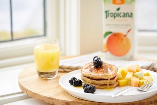 Orange Graham Pancakes with Orange Syrup