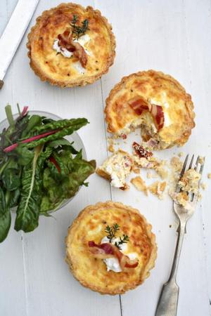 Sundried tomato and pancetta quiche with parmesan pastry