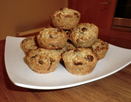 Banana and bran flake muffins