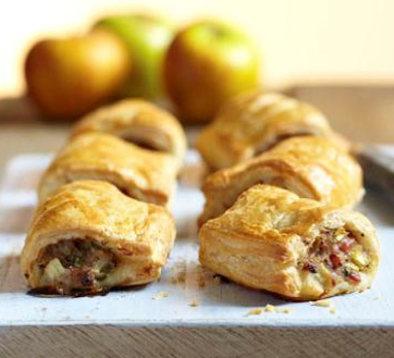 Sausage, apple and bacon rolls