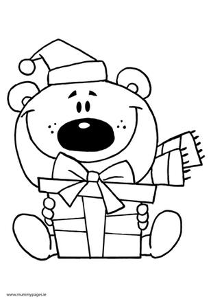 Christmas bear with gift