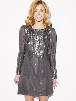 Fearne Cotton Metallic Printed Shift Dress