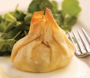 Smoked salmon and filo parcels