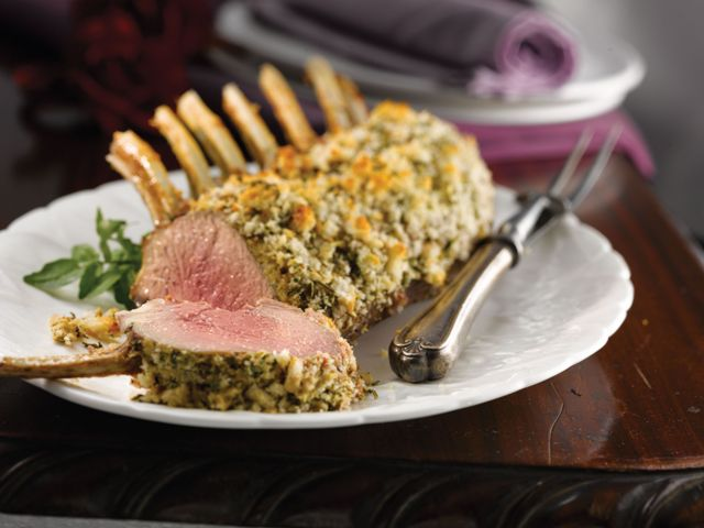 Roast rack of lamb with mustard and herb topping