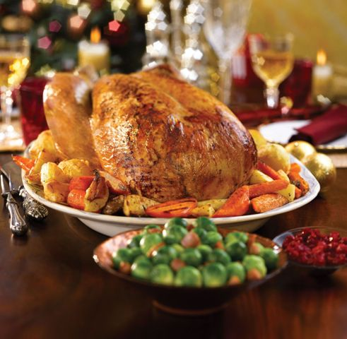 Roast turkey with thyme and onion stuffing