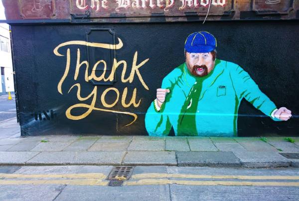 Stunning street mural of late comedian Brendan Grace appears in The Liberties