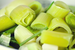 Lemony leeks and sprouts