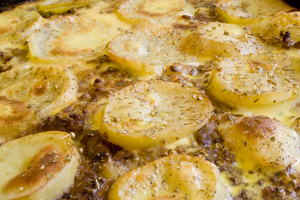 Potato and celeriac gratin with mustard and crème fraîche