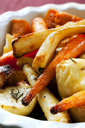 Sticky cumin and apricot roast carrots and parsnips