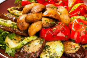Oven roasted vegetable and sweet potato salad with fresh herbs