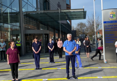 The Mater Hospital staff applaud the public for staying at home