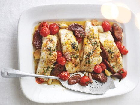 Paprika baked fish with chorizo, lemon and thyme