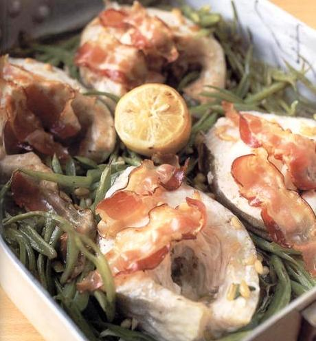 Tray-baked cod with runner beans, pancetta and pine-nuts