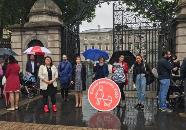 New mothers and babies stand outside Dáil to demand maternity leave extension