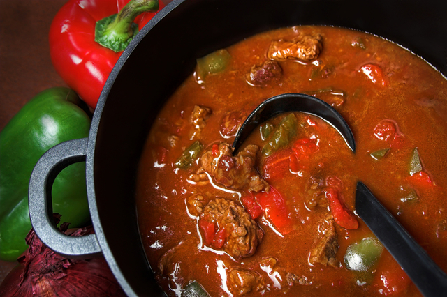 Beef, shallot and red pepper stew