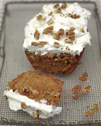 A rather pleasing carrot cake with lime mascarpone icing