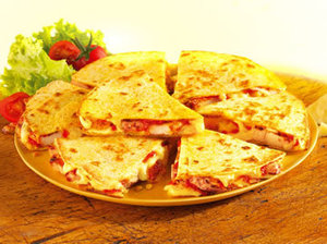 Toasted chicken and cheese quesadillas