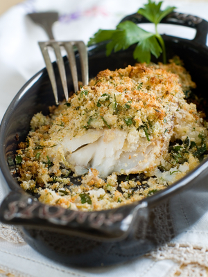Cod with lemon and herb crust