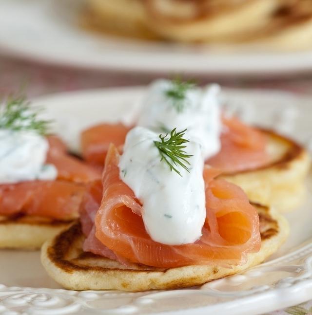 Smoked Irish salmon with chive pancakes