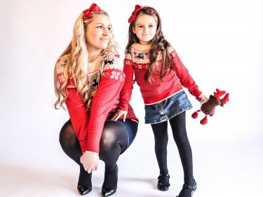 Mother​ ​& daughter matching clothes​ ​brand​ launch Christmas jumpers