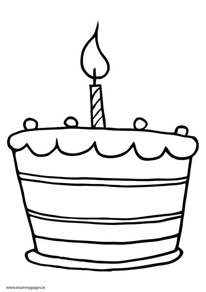 Cake with one candle Colouring Page MummyPagesMummyPagesie