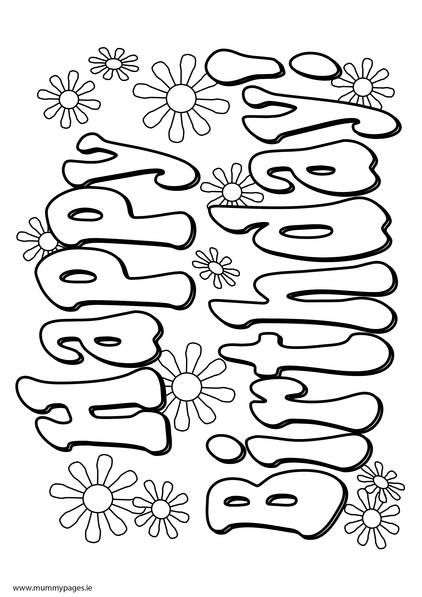 Happy Birthday sign Colouring Page | MummyPages.ie