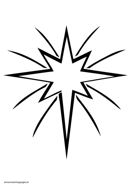 Christmas star in sky Colouring Page | MummyPages ...