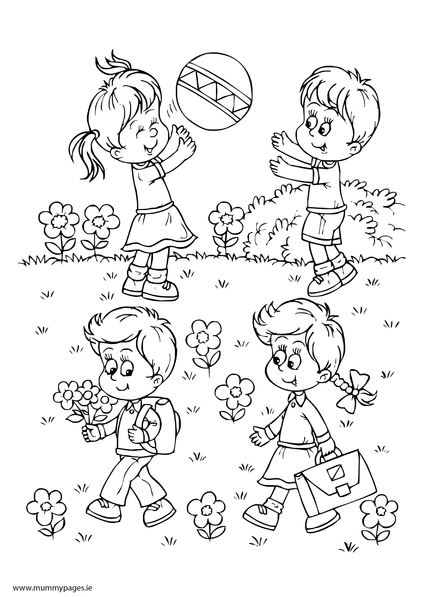 Boy & girls playing in summer Colouring Page