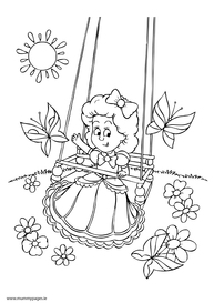 Little girl playing on swing