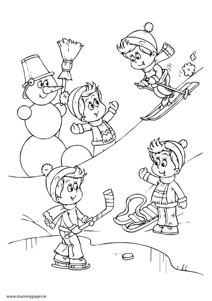 Children Playing In Snow Colouring Page Mummypages Mummypages Ie