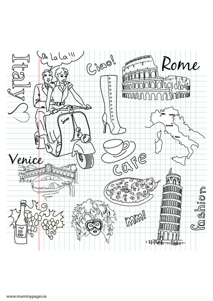 Travel Doodles Italy Colouring Page Mummypages Mummypages Ie
