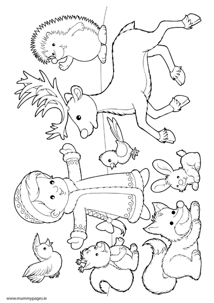 Winter scene - girl with animals in snow Colouring Page