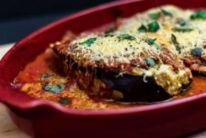 Weekend treats; Cheesy, veggie-stuffed eggplant parmesan