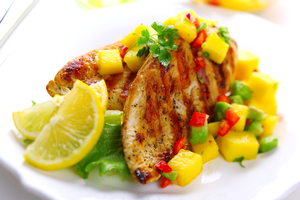 Pan fried chicken with mango salsa