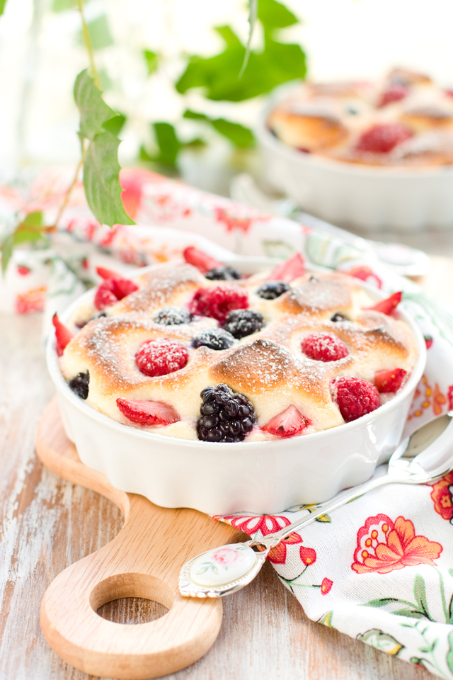 Fruit and almond clafoutis