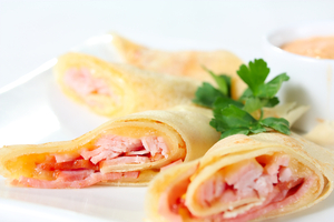 Ham and cheese savoury pancakes