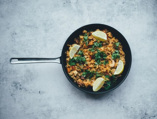 This paella recipe packs major flavour with minimum prep time