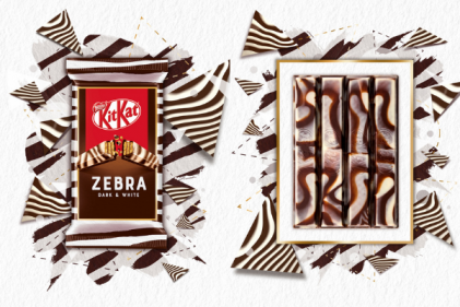 KitKat launch a zebra patterned bar with marbled dark and white chocolate