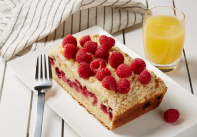 This Orange and Raspberry Coffee Cake recipe is the perfect mid-morning treat!