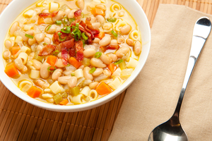Borlotti bean and pasta soup